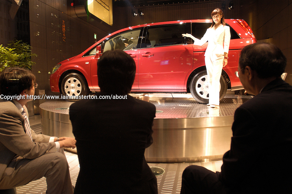 Interior of chic Nissan automobile showroom in Ginza Tokyo