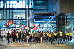 © Licensed to London News Pictures . 31/10/2017. Manchester , UK . Pro-Palestinian demonstration outside the Hilton Hotel in Manchester inside which an event celebrating the 100th anniversary of the Balfour Declaration is taking place as today (2nd November 2017) marks the 100th anniversary since the publication of the Balfour Declaration , setting out the British Government's case for a Jewish homeland in the Middle East . Photo credit: Joel Goodman/LNP