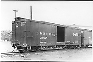 "Box car #3055 ""Flour, Sugar, And Bean Loading Only"" car in Durango, CO.<br /> D&RGW  Durango, CO  Taken by Best, Gerald M. - 9/29/1949"