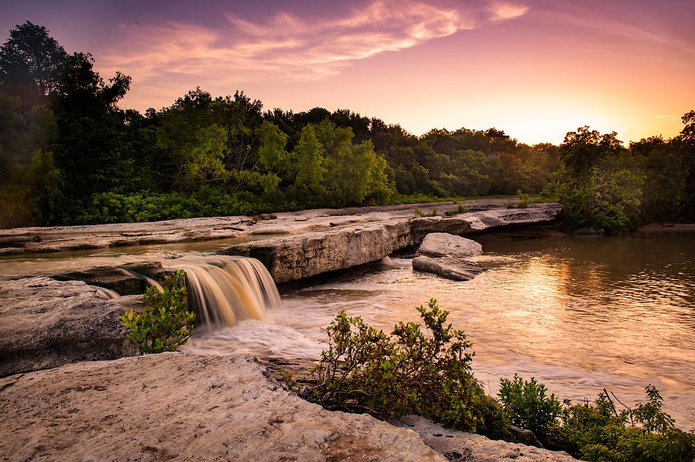McKinney Falls State Park sunrise, Lower Falls, Austin, Texas