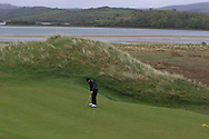 Brandon St. John (Portmarnock) on the 5th green during Round 3 of the Ulster Boys Championship at Donegal Golf Club, Murvagh, Donegal, Co Donegal on Friday 26th April 2019.<br /> Picture:  Thos Caffrey / www.golffile.ie