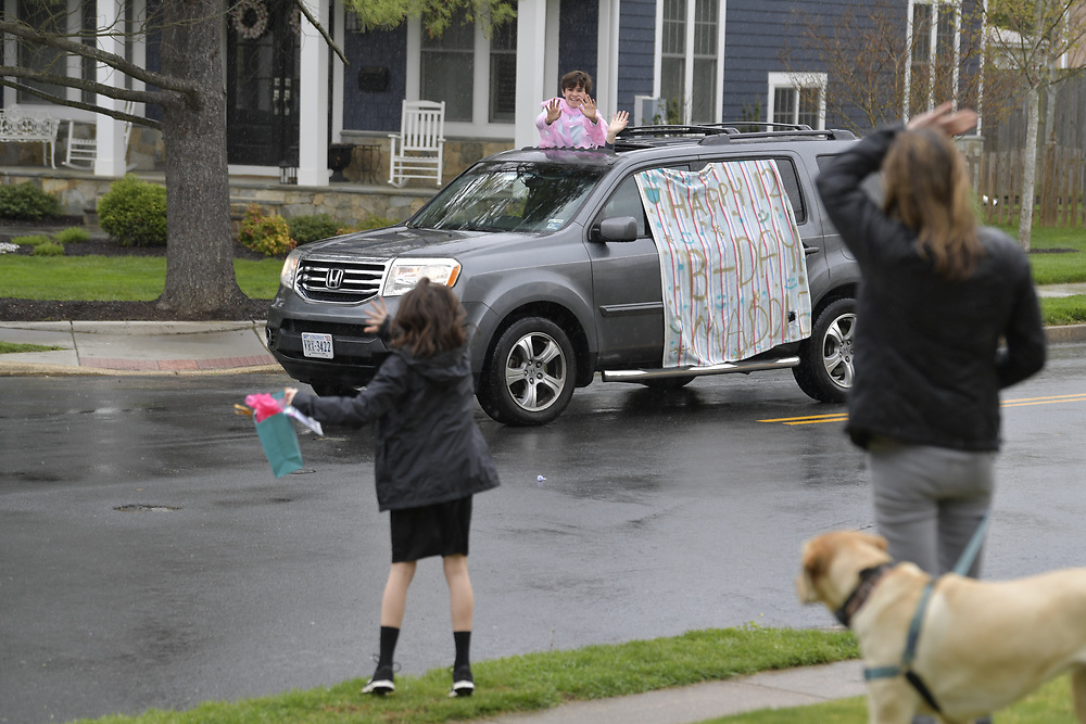 4/23/20 4:03:03 PM -- Richmond, VA, U.S.A  -- Maddie Gruber on her 12th birthday during the Coronavirus pandemic gets surprise birthday parade of friends. --    Photo by Jack Gruber, USA TODAY Staff