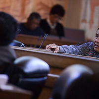 Council Delegate Jonathan Hale addresses the Navajo Nation Council during their session in Window Rock Tuesday.