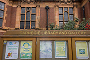 Previous activities in the noticeboard of the now closed Carnegie Library in Herne Hill, south London while occupiers remain inside the premises on day 9 of its occupation, 8th April 2016. The angry local community in the south London borough have occupied their important resource for learning and social hub for the weekend. After a long campaign by locals, Lambeth have gone ahead and closed the library's doors for the last time because they say, cuts to their budget mean millions must be saved.