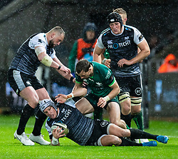 Hanno Dirksen of Ospreys under pressure from Thomas Farrell of Connacht<br /> <br /> Photographer Simon King/Replay Images<br /> <br /> Guinness PRO14 Round 6 - Ospreys v Connacht - Saturday 2nd November 2019 - Liberty Stadium - Swansea<br /> <br /> World Copyright © Replay Images . All rights reserved. info@replayimages.co.uk - http://replayimages.co.uk