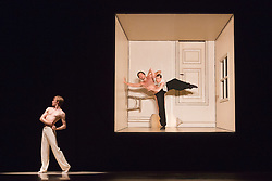 © Licensed to London News Pictures. 01/07/2014. London, England. L-R: Sila Henriksen, Medhi Walerski and Paravaneh Scharafali perform Sehnsucht. Dress rehearsal of the works Sehnsucht (longing) and Schmetterling (butterfly) of Nederlands Dans Theater 1 at Sadler's Wells. The company presents a UK premiere of these two works from 1 to 4 July 2014.  Photo credit: Bettina Strenske/LNP