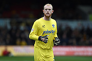 Portsmouth goalkeeper Aaron McCarey looks on. Skybet football league two match, Newport county v Portsmouth at Rodney Parade in Newport, South Wales  on Saturday 17th October 2015.<br /> pic by  Andrew Orchard, Andrew Orchard sports photography.