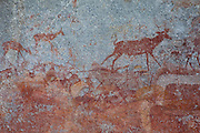 Kudu and antelope depicted in San bushman rock paintings, estimated at around 2000 years old, in Nswatugi Cave in Matobo National Park, Zimbabwe.