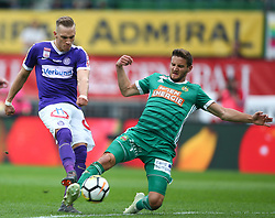 15.04.2018, Ernst Happel Stadion, Wien, AUT, 1. FBL, FK Austria Wien vs SK Rapid Wien, 30. Runde, im Bild Christoph Monschein (FK Austria Wien) und Maximilian Hofmann (SK Rapid Wien) // during Austrian Football Bundesliga Match, 30th Round, between FK Austria Vienna and SK Rapid Wien at the Ernst Happel Stadion, Vienna, Austria on 2018/04/15. EXPA Pictures © 2018, PhotoCredit: EXPA/ Thomas Haumer