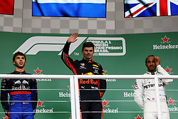 November 17, 2019, Sao Paulo, SP, Brazil: L/R: PIERRE GASLY of the Toro Rosso Honda (2th place), MAX VERSTAPPEN of the Red Bull Racing (winner) and LEWIS HAMILTON of the Mercedes AMG Petronas Motorsport (7th) of the Brazilian Formula 1 Grand Prix at Interlagos racetrack. (Credit Image: © Marcelo Chello/ZUMA Wire)