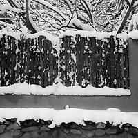 Wall in snow Canyon Road Santa Fe New Mexico
