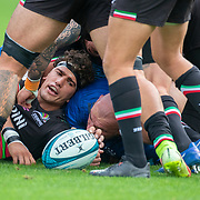 DUBLIN, IRELAND:  October 9:   Andrea Zambonin #5 of Zebre feeds the ball back in the tackle during the Leinster V Zebre, United Rugby Championship match at RDS Arena on October 9th, 2021 in Dublin, Ireland. (Photo by Tim Clayton/Corbis via Getty Images)