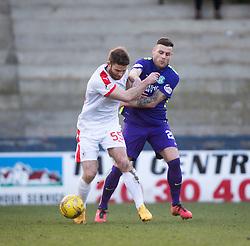 Raith Rovers Craig Barr and Hibernian's Anthony Stokes. <br /> Raith Rovers 2 v 1 Hibernian, Scottish Championship game player at Stark's Park, 18/3/2016.