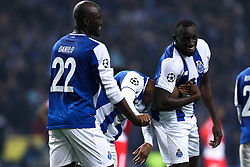 December 6, 2017 - Porto, Porto, Portugal - Porto's Algerian forward Yacine Brahimi (C) celebrates after scoring a goal with Porto's Malian forward Moussa Marega (R) and Porto's Portuguese midfielder Danilo Pereira (L) during the UEFA Champions League Group G match between FC Porto and AS Monaco FC at Dragao Stadium on December 6, 2017 in Porto, Portugal. (Credit Image: © Dpi/NurPhoto via ZUMA Press)