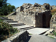 "Byzantine Agora at ruins of Bet She'an, Israel, Bet shean is located in the northn regions of Israel, Bet She'an was the site of an Egyptian administrative center during the XVIII and XIX dynasties. In Hellenistic times it was a Scythian city from circa 625 to 300 B.C., and the biblical city Beth-shean. In 64 BC it was taken by the Romans, rebuilt, and made the center of the Decapolis, the ""Ten Cities"" of Samaria that were centers of Greco-Roman culture. The city contains the best preserved Roman theater of ancient Samaria.<br /> <br /> During the 6th century Byzantine period, Bet She'an housed a Christian monastery named the Monastery of Lady Mary which has a Zodiac mosaic that is still preserved today."