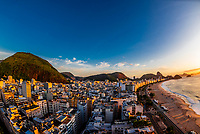 High angle view of Copacabana Beach,with Sugarloaf Mountain behind, Rio de Janeiro, Brazil.