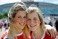 two Rotherham United female fans before k.o.  Skybet football league one play off final match , Leyton Orient  v Rotherham Utd at Wembley Stadium in  London on Sunday 25th May 2014.<br /> pic by John Patrick Fletcher, Andrew Orchard sports photography.