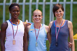 Merlene Ottey, Sabina Veit and Kristina Zumer at medal ceremony after the women 100 m at Slovenian National Championships in athletics 2010, on July 17, 2010 in Velenje, Slovenia. (Photo by Vid Ponikvar / Sportida)