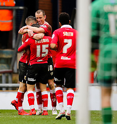 Bristol City's Aaron Wilbraham celebrates after scoring the opening goal - Photo mandatory by-line: Matt McNulty/JMP - Mobile: 07966 386802 - 03/04/2015 - SPORT - Football - Oldham - Boundary Park - Oldham Athletic v Bristol City - Sky Bet League One