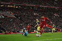 Football - 2019 / 2020 Premier League - Liverpool vs. Southampton<br /> <br /> Southampton's Alex McCarthy save a shot from Liverpool's Roberto Firmino<br /> <br /> Colorsport / Terry Donnelly
