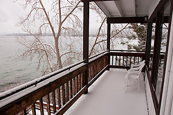 California, Lake Tahoe: Fresh snow on a lodging deck in Tahoe Vista.  Photo copyright Lee Foster.  Photo # cataho107474