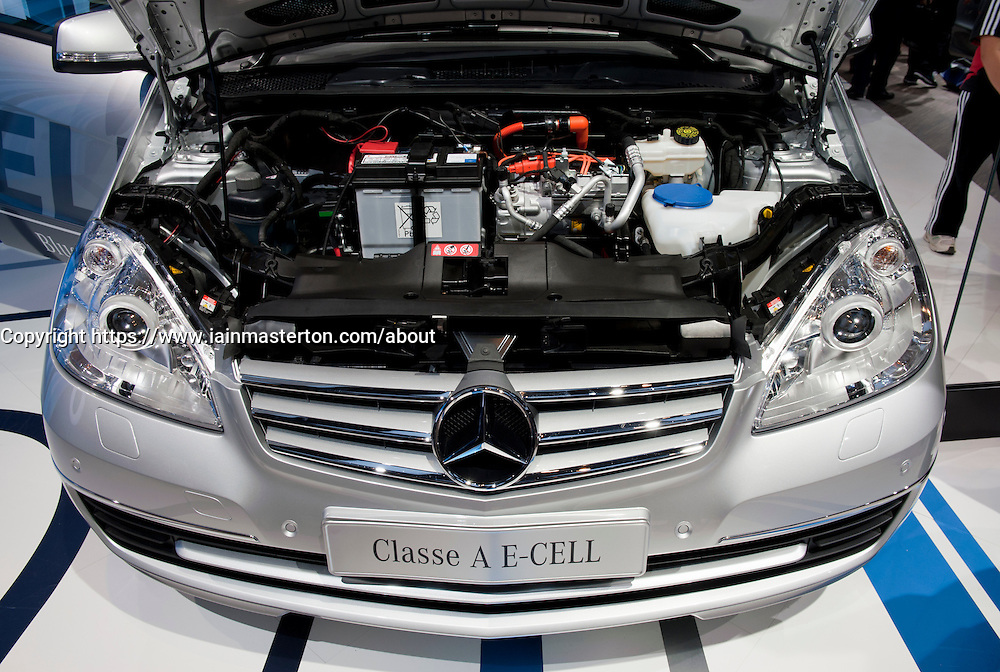 Detail of Mercedes electric car class A, E Cell  at Paris Motor Show 2010