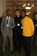 ELLIOT RAE; RICHIE DRISS; MO GILLIGAN, Ann Coffey MP hosts a reception and panel debate  on behalf of Harry's Grooming to launch the Masculinity Report. Houses of Parliament. 16 November 2017.