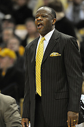 Jan 23, 2010; Columbia, MO, USA; Missouri Tigers head coach Mike Anderson reacts to a call in the first half of the game against the Nebraska Cornhuskers at Mizzou Arena in Columbia, MO. Missouri won 70-53. Mandatory Credit: Denny Medley-US PRESSWIRE