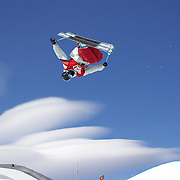 Gus Kenworthy, USA, in action during his third place finish in the Men's Halfpipe Finals during The North Face Freeski Open at Snow Park, Wanaka, New Zealand, 3rd September 2011. Photo Tim Clayton.