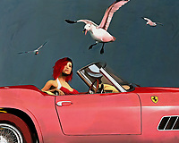 A beautiful young woman sits in a Ferrari 250 GTB watching seagulls flying overhead.<br />