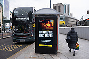 Latest version of the HM Government, and NHS advice boards which are advising people dont help the virus spread by minimising human contact during the third national coronavirus lockdown in Birmingham on 18th January 2021 in Birmingham, United Kingdom. Following the recent surge in cases including the new variant of Covid-19, this nationwide lockdown, which is an effective Tier Five, advises all citizens to follow the message to stay at home, protect the NHS and save lives.