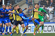Kgosi Nthle attacks a corner during the EFL Sky Bet League 1 match between Rochdale and Scunthorpe United at Spotland, Rochdale, England on 23 March 2019.