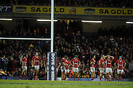 The Wales players are dejected after losing the match in the final minute. Dove Men, autumn international test, Wales v Australia at the Millennium Stadium in Cardiff on Sat 1st Dec 2012. pic by Andrew Orchard, Andrew Orchard sports photography,
