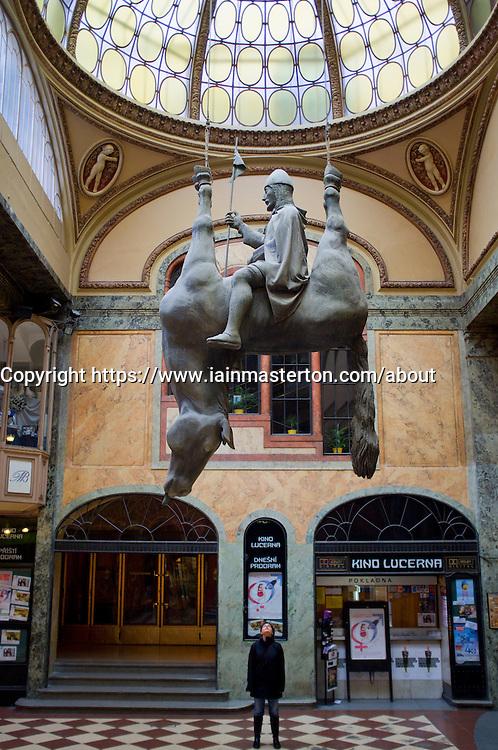 Lucerna Pasaz (arcade) with David Cerny's upside down St Wenceslas and horse Prague in Czech Republic