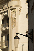 Architectural detail with lamp and balconies in Casablanca, Morocco