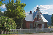 Snowball Bush, Main Ranch House, Genesee Home, Genesee Valley Ranch, Spring, Shade Trees, White Picket Fence, Brick House, California Architecture
