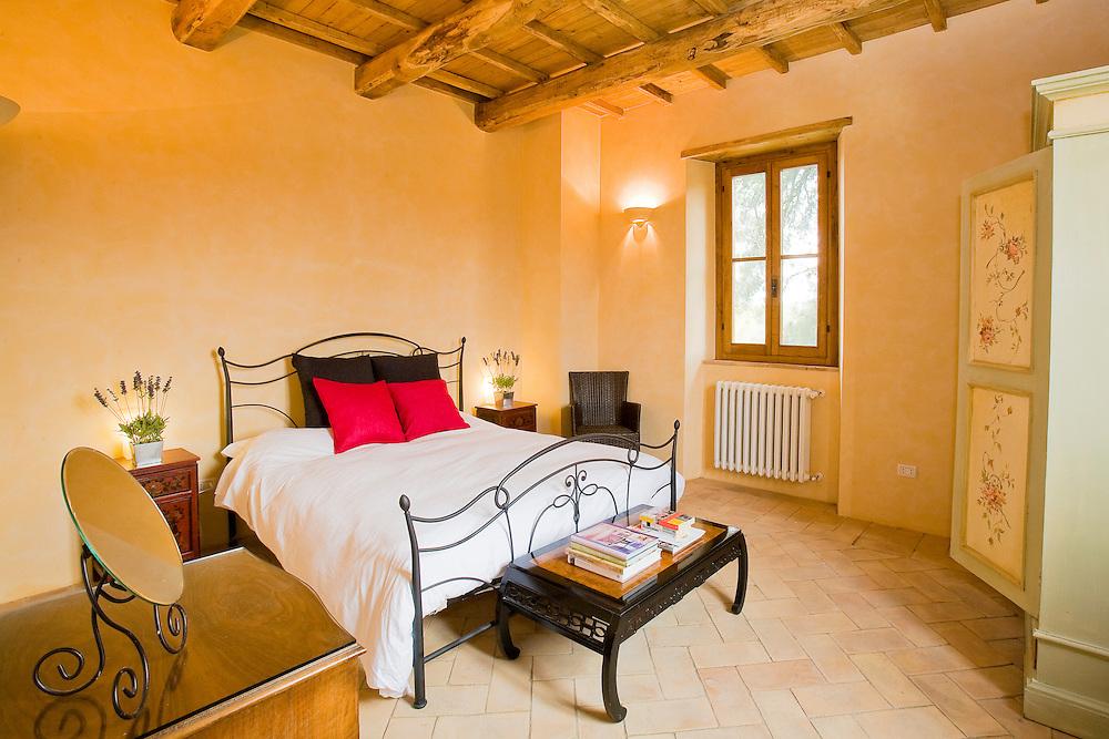 Villa San Donato in Italy, on the border between Tuscany and Lazio. Double bedroom.
