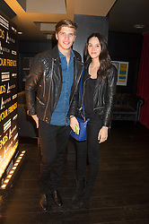 TOBY HUNTINGTON-WHITELEY and ADENA WALLINGFORD at the Al Films and Warner Music Screening of Kill Your Friends held at the Curzon Soho Cinema, 99 Shaftesbury Avenue, London on 27th October 2015.