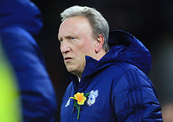 Cardiff City manager Neil Warnock ahead of the match during the Premier League match at the Cardiff City Stadium.