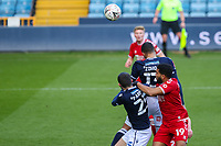 Football - 2020 /2021 Emirates FA Cup - Fourth Round : Millwall vs. Bristol City <br />  -  The Den<br /> <br /> Kenneth Zohore (Millwall FC) rises high to head towards goal<br /> <br /> COLORSPORT/DANIEL BEARHAM