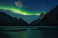Northern lights in sky over Horseid beach, Moskenesøy, Lofoten Islands, Norway