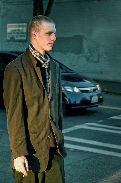 Young man in urban scene.