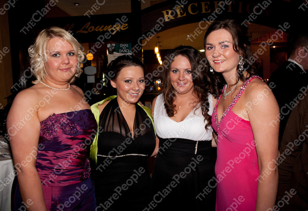 28.01.12 <br /> Attending the Clare Hunt Ball in West County Hotel Ennis were, Stephanie Wright, Roisin Lathan, Niamh Lathan and Aisling McGrath<br /> . Picture: Alan Place/Press 22.