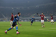 Matias Vecino of Inter celebrates after scoring to level the game at 2-2 during the Serie A match at Giuseppe Meazza, Milan. Picture date: 9th February 2020. Picture credit should read: Jonathan Moscrop/Sportimage
