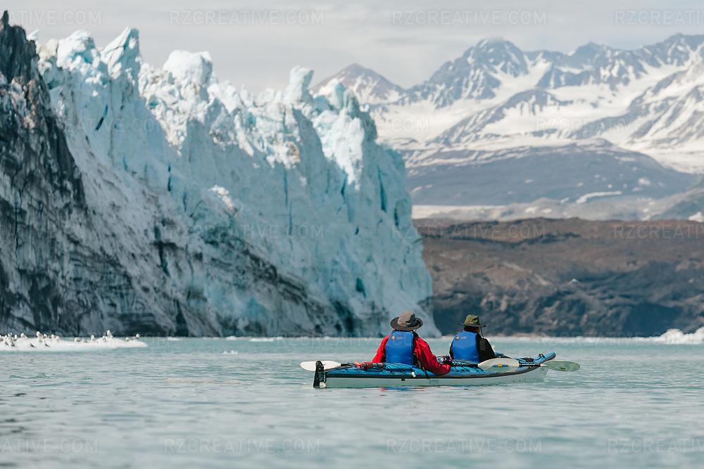 A tandem kayak in Tarr Inlet in southeast Alaska's Glacier Bay National Park.