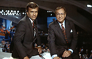 Tom Brokaw and John Chancellor at the Democratic Convention in San Francisco, CA in July 1984..Photograph by Dennis Brack bs b 17