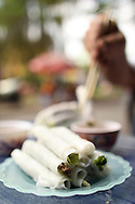 """Plate of traditional dish """"Pho Cuon"""" in a street restaurant of Hanoi, Vietnam, Southeast Asia"""