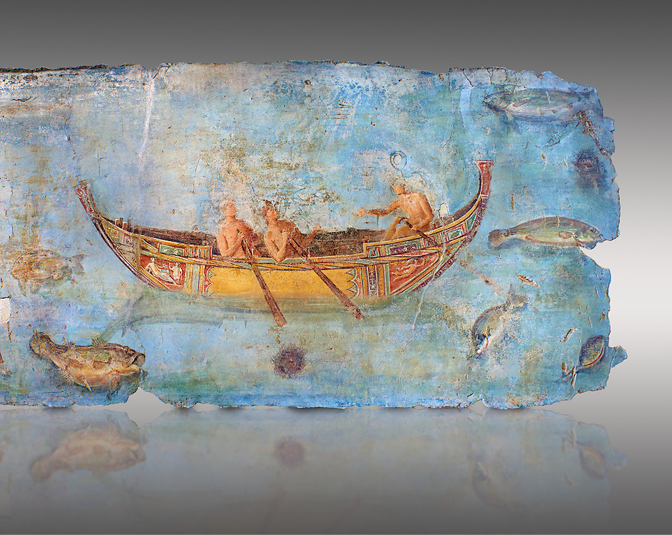 Roman Fresco with a boat decorated for a festival and marine life from the second quarter of the first century AD. (mosaico fauna marina da porto fluviale di san paolo), museo nazionale romano ( National Roman Museum), Rome, Italy. inv. 121462 .    Against a grey background.<br /> The frescoes depict boats decorated as boats which went along the Tiber on festival days; their shape appears to be the caudicariae boats, used to transport merchandise. In the fresco fragment exhibited here (Ambiente E) the boat on the left depicts probably the group of 'side Serapide and Demetra on the stern, whereas the one on the right presents a crowned character on the bow and, on the stern, a feminine figure fluctuating in the air. Between the two boats, a young boy (a cupid or Palaimon-Portunus) rides a dolphin. All around are depicted several fish incredibly casting their shadows on the sea. The ichthyic fauna, lifeless as in still life decoration, is detailed as in a scientific catalogue. For the most part the represented species live next to the coast or were bred by the Romans in the piscinae salsac or in ponds. It is possible to recognize the rock mullet (mullus sunnuletus) and the mud one (mullus barbatu4 the scorpion fish (scorpoena) the dentex (dentex dentex), the aguglia (belone agus) the dolphin (delphinus delphis) and the golden mullet (lire curate). .<br /> <br /> If you prefer to buy from our ALAMY PHOTO LIBRARY  Collection visit : https://www.alamy.com/portfolio/paul-williams-funkystock/national-roman-museum-rome-fresco.html<br /> <br /> Visit our ROMAN ART & HISTORIC SITES PHOTO COLLECTIONS for more photos to download or buy as wall art prints https://funkystock.photoshelter.com/gallery-collection/The-Romans-Art-Artefacts-Antiquities-Historic-Sites-Pictures-Images/C0000r2uLJJo9_s0