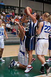21 June 2008: Megan Considine #35 takes a shot from the lane with Heather Pruemer #55 trying to block from the floor. IBCA ( Illinois Coaches Basketball Association) Girls Class 1 & 2 All Star Game held at the Shirk Center on the Campus of Illinois Wesleyan University in Bloomington Illinois
