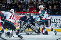 KELOWNA, CANADA - APRIL 30:  Carl Stankowski #1 of the Seattle Thunderbirds defends the net against the Kelowna Rockets on April 30, 2017 at Prospera Place in Kelowna, British Columbia, Canada.  (Photo by Marissa Baecker/Shoot the Breeze)  *** Local Caption ***